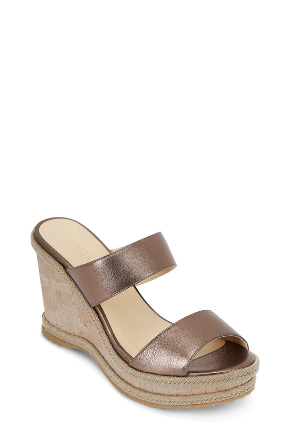 Jimmy Choo Parker Antique Gold Leather Two-Strap Wedge, 100mm