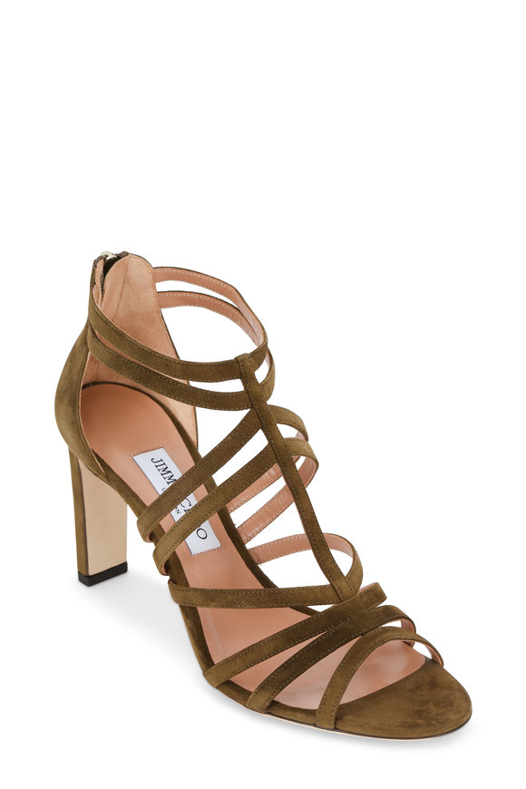 Jimmy Choo Selina Olive Suede Strappy Back-Zip Sandal, 85mm