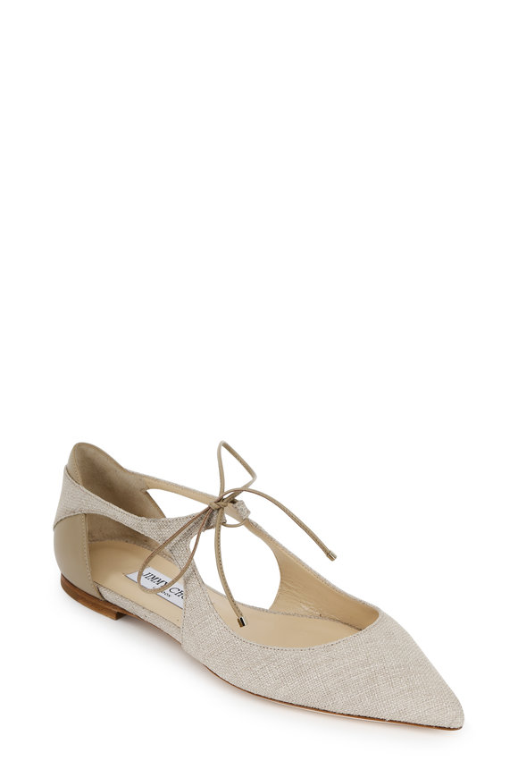 Jimmy Choo Vanessa Chai Tweed Canvas Cross Front Tie Flat