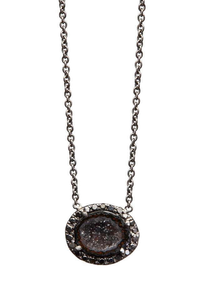 White Gold Mini Black Geode Black Diamond Pendant