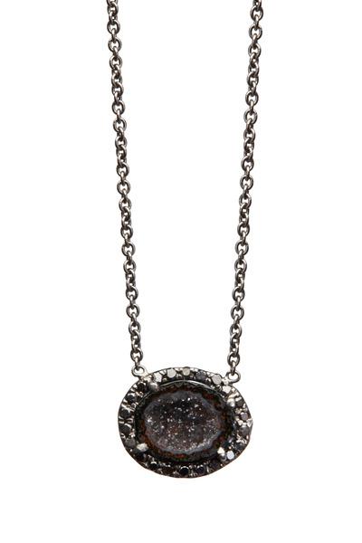 Kimberly McDonald - White Gold Mini Black Geode Black Diamond Pendant