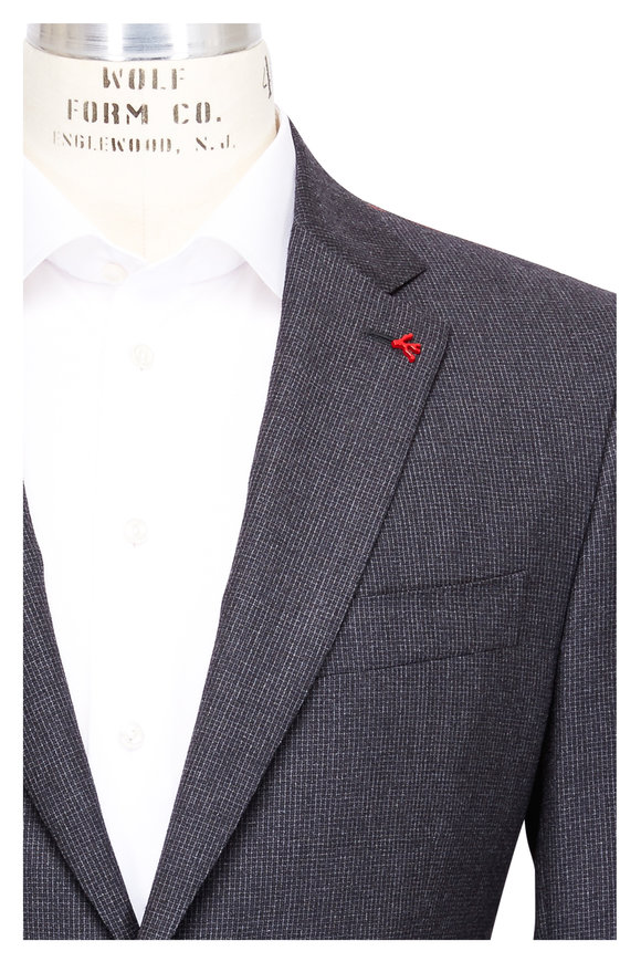 Isaia Charcoal Grey Wool Micro Neat Check Suit