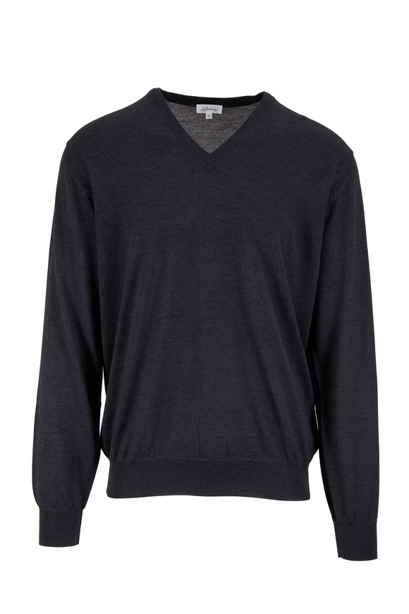 Brioni Charcoal Gray Wool, Silk & Cashmere V-Neck Sweater