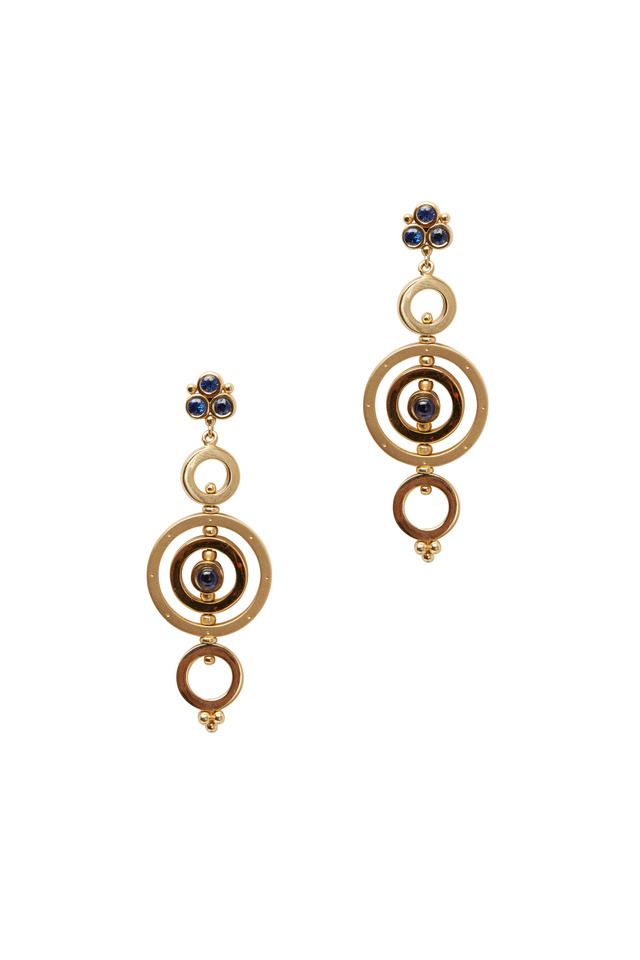 Gold Mixed Sapphire Triple Tolomeo Drop Earrings
