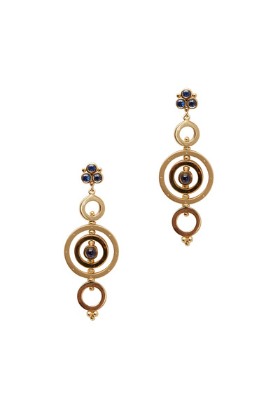 Temple St. Clair - Gold Mixed Sapphire Triple Tolomeo Drop Earrings