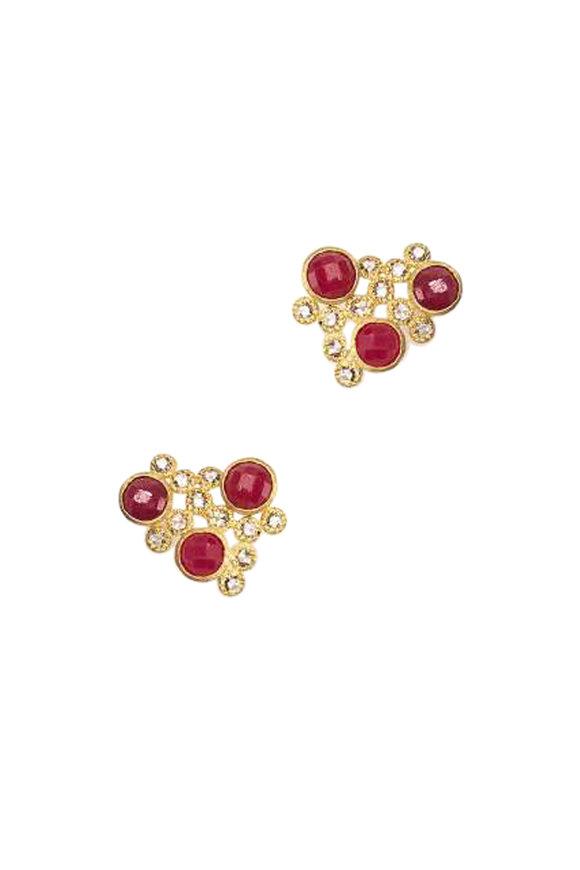 Coomi 20K Yellow Gold Ruby & Diamond Affinity Studs
