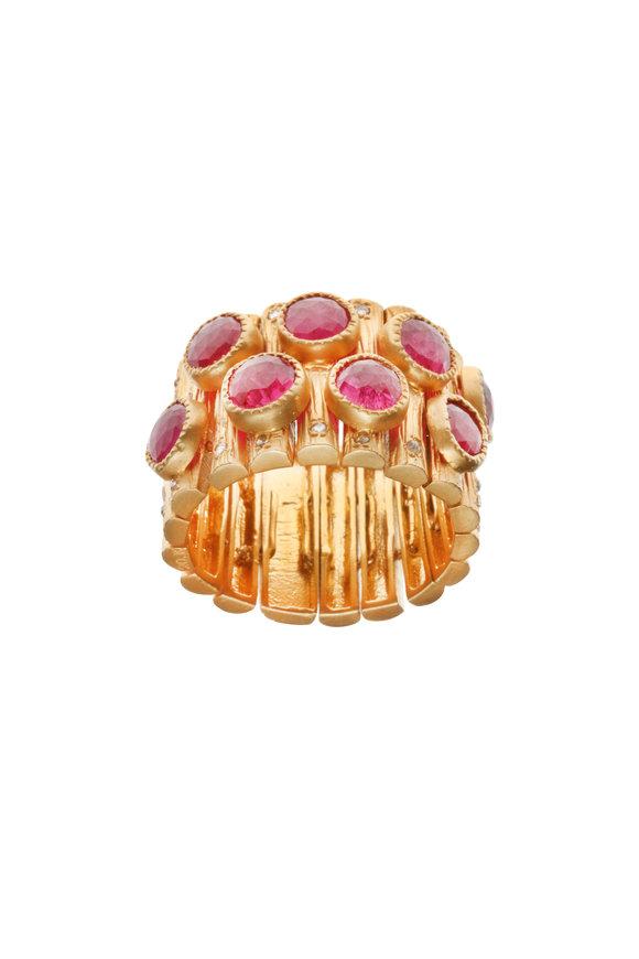 Coomi 20K Gold Ruby & Diamond Luminosity Flex Bracelet