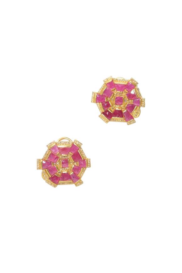 Coomi 20K Yellow Gold Ruby & Diamond Luminosity Studs