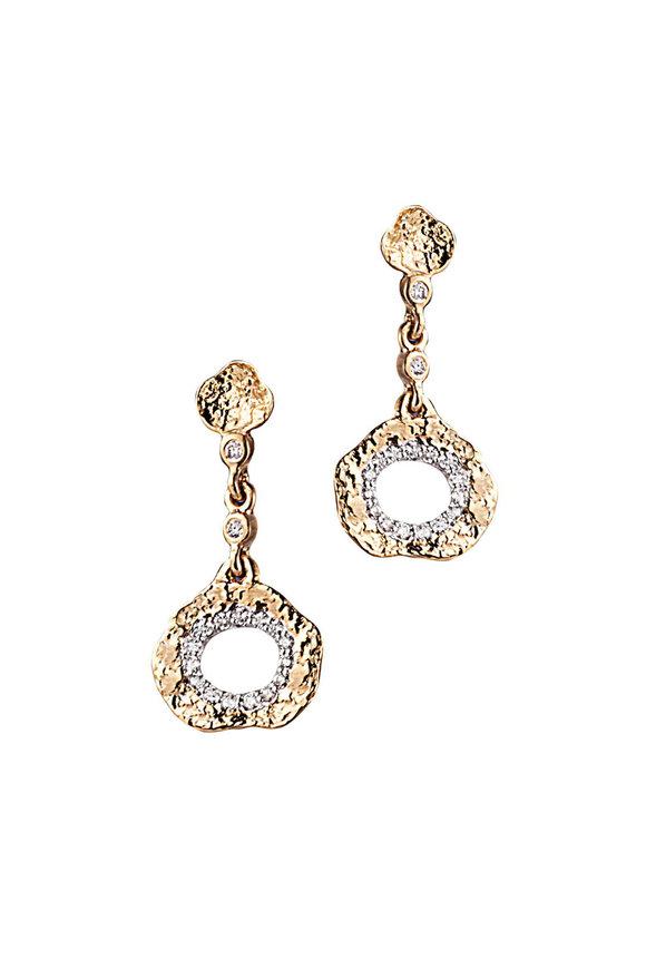 Coomi 20K Yellow Gold Diamond Open Flower Drop Earrings