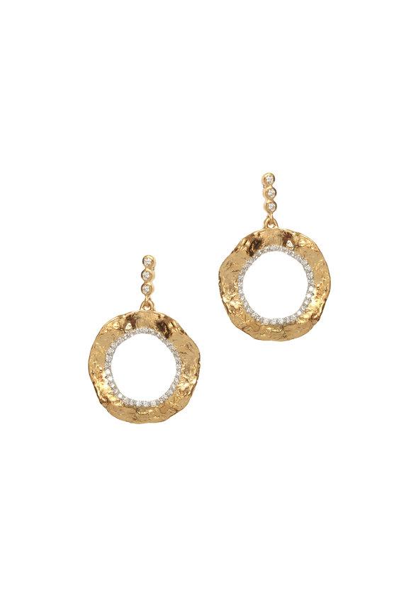 Coomi 20K Yellow Gold Diamond Open Flower Earrings