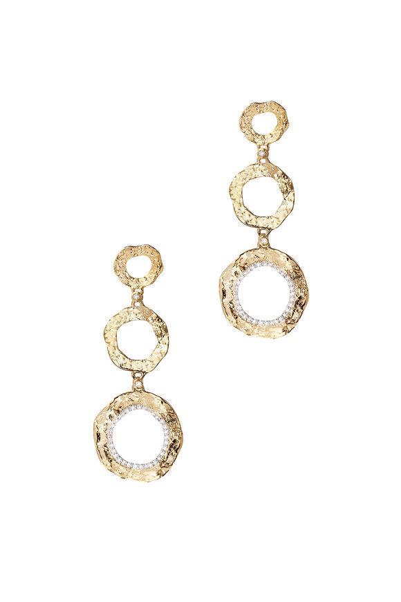 Coomi 20K Gold Diamond Triple Flower Drop Earrings