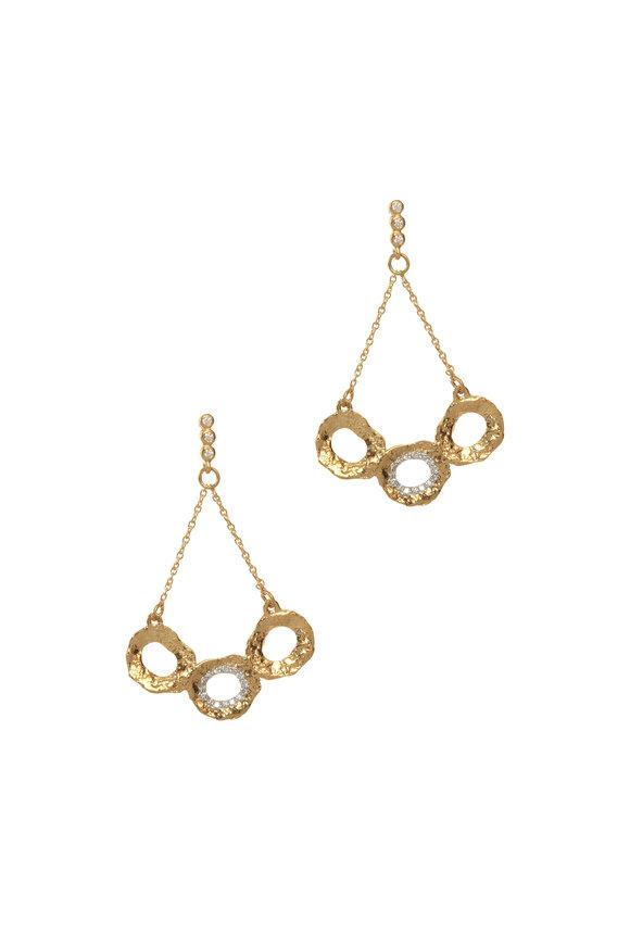 Coomi 20K Yellow Gold Diamond Triple Flower Earrings