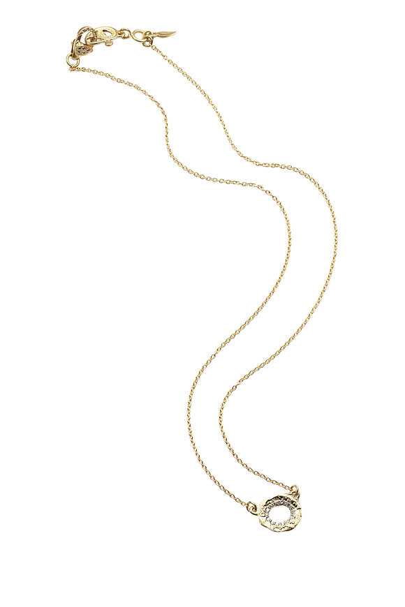 Coomi 20K Yellow Gold Diamond Open Flower Necklace