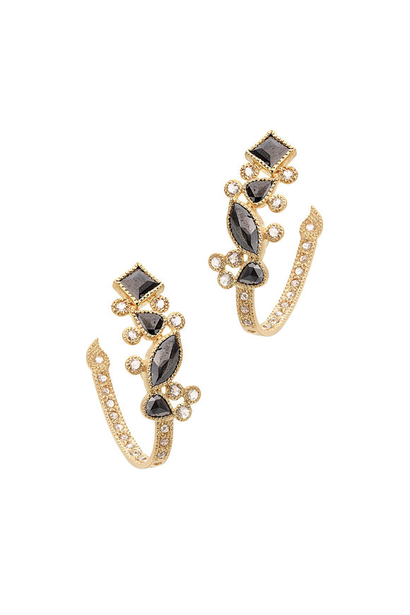 Coomi 20K Yellow Gold Black Diamond Hoops