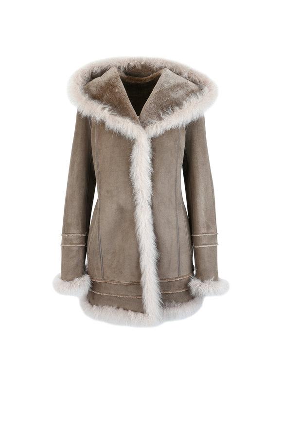 Viktoria Stass Beige Shearling & Cashmere Fur Trim Hooded Coat