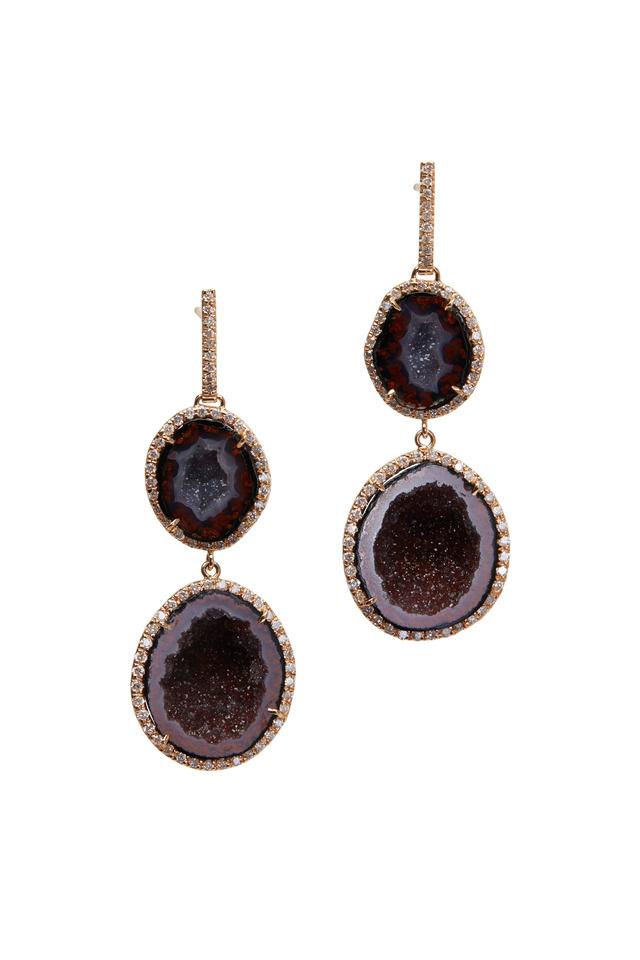 Red Geode Double Drop Earrings