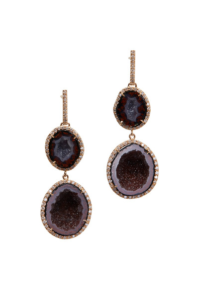 Kimberly McDonald - Red Geode Double Drop Earrings
