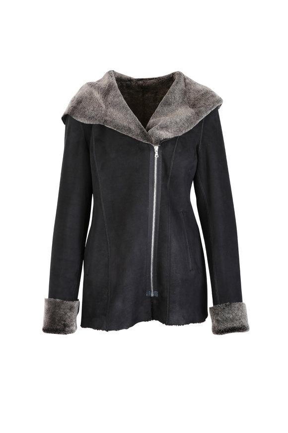 Viktoria Stass Black Merino Shearling Hooded Coat
