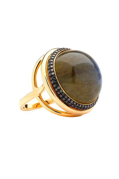 Syna - Yellow Gold Mogul Labradorite Black Diamond Ring