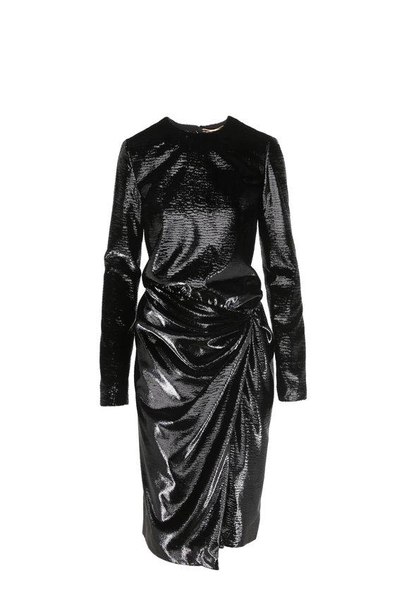 Saint Laurent Gathered Black Velvet Lamè Dress