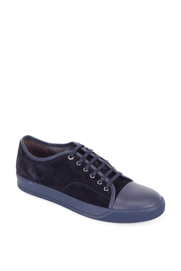 Lanvin Navy Blue Suede Cap-Toe Sneaker