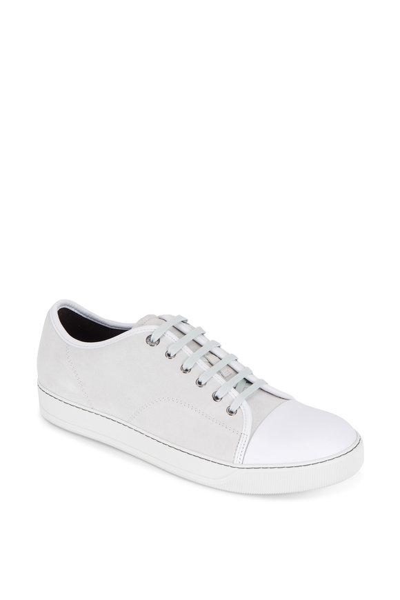 Lanvin Light Gray Suede Cap-Toe Sneaker