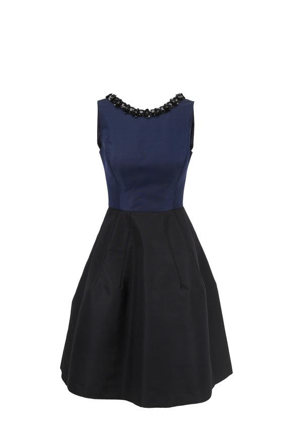 Carolina Herrera Navy & Black Silk Faille Embellished Neck Dress