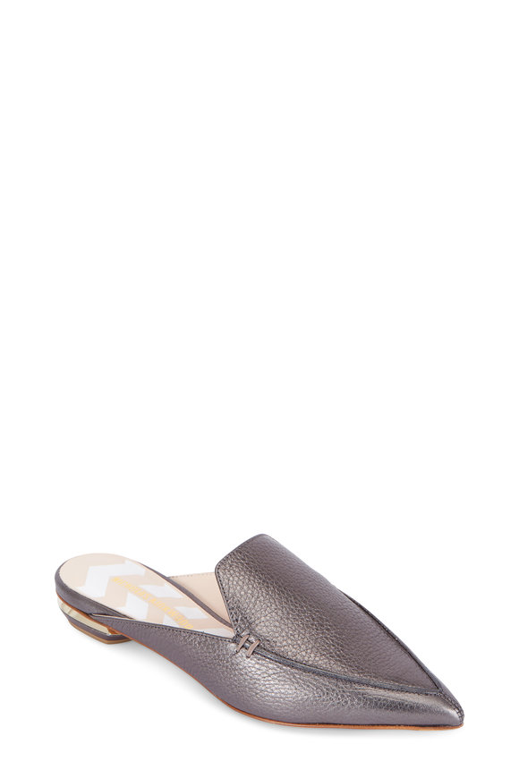 Nicholas Kirkwood Beya Pewter Leather Pointed Mule