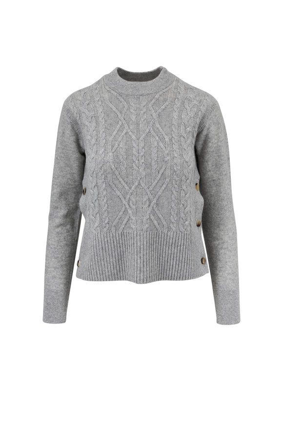 Veronica Beard Kenna Heather Gray Cashmere Side-Button Sweater