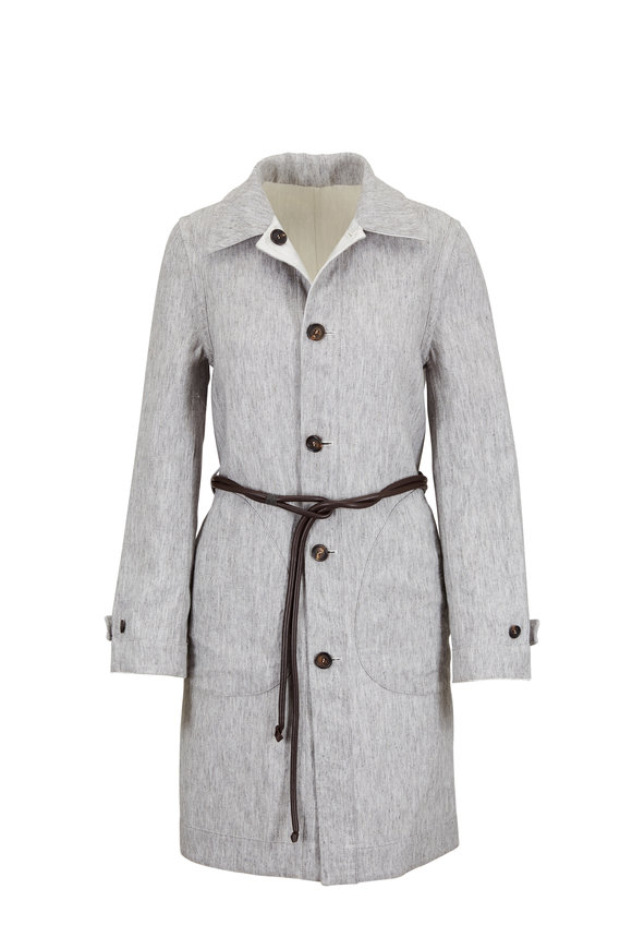 Brunello Cucinelli Pearl Linen & Satin Reversible Coat