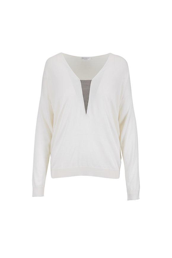 Brunello Cucinelli White Cashmere & Silk Monili V-Neck Top