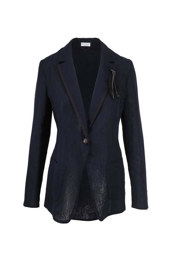 Brunello Cucinelli Midnight Cotton Organza Monili Lapel Jacket