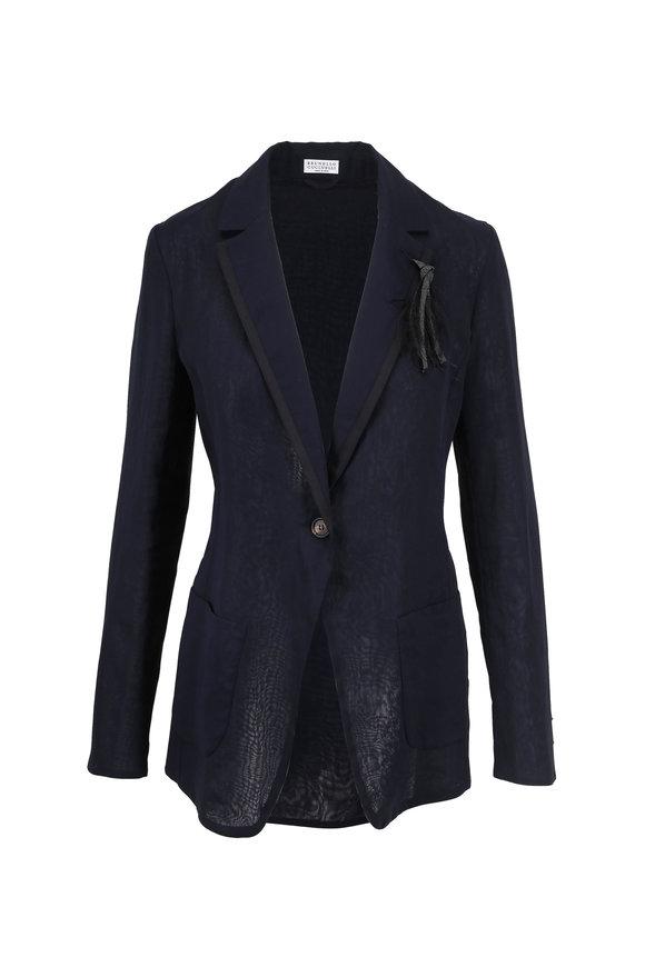 Brunello Cucinelli Midnight Cotton Organza Monili Lapel Jacket