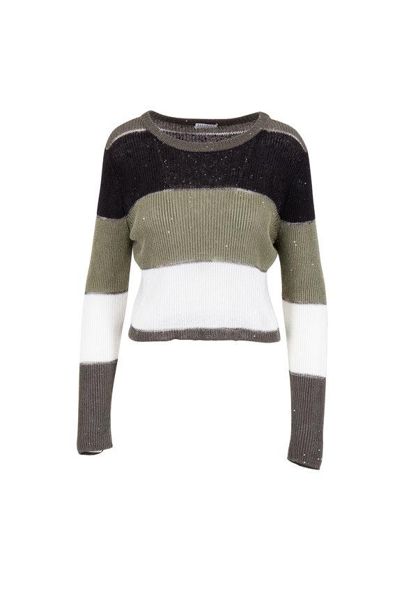 Brunello Cucinelli Bay Leaf Linen & Silk Pailette Bold Stripe Sweater