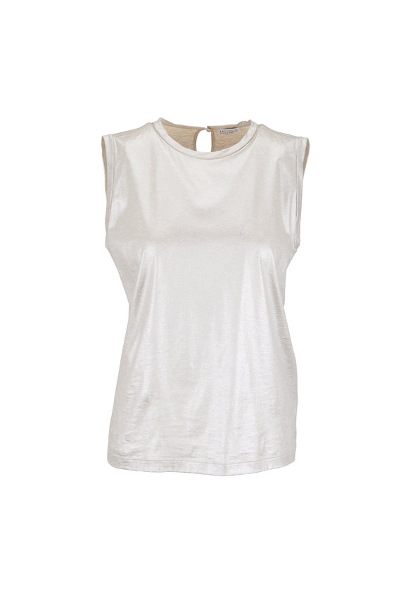 Brunello Cucinelli Silver Cotton Lamé Sleeveless Top