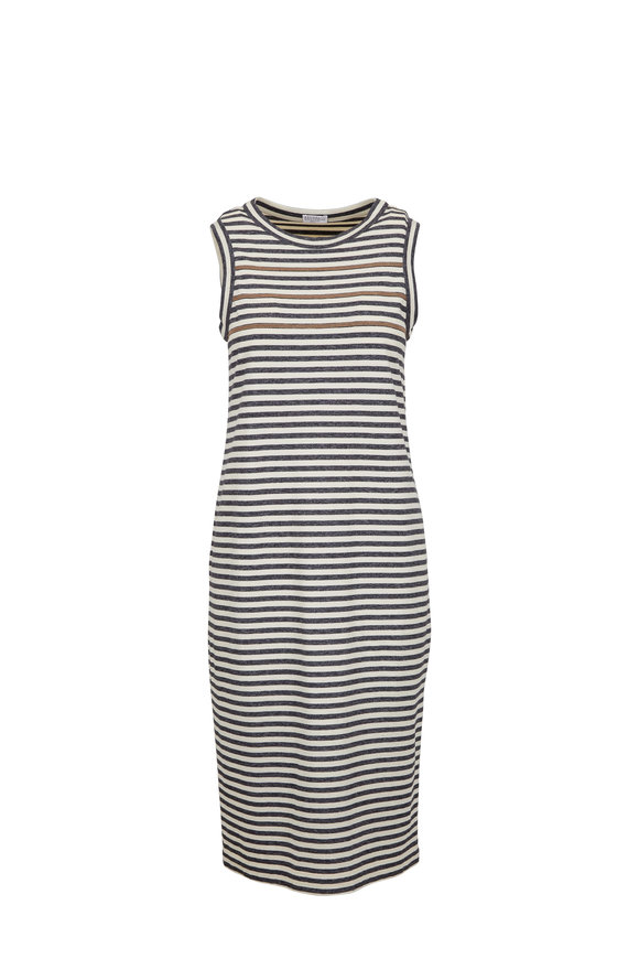 Brunello Cucinelli Charcoal Gray Monili Stripe Sleeveless Dress