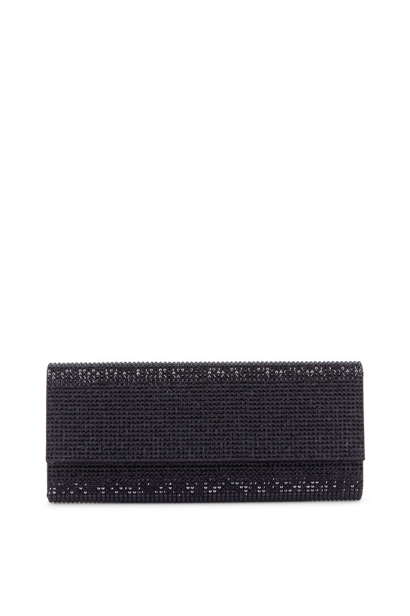Judith Leiber Black Crystal Flap Front Clutch