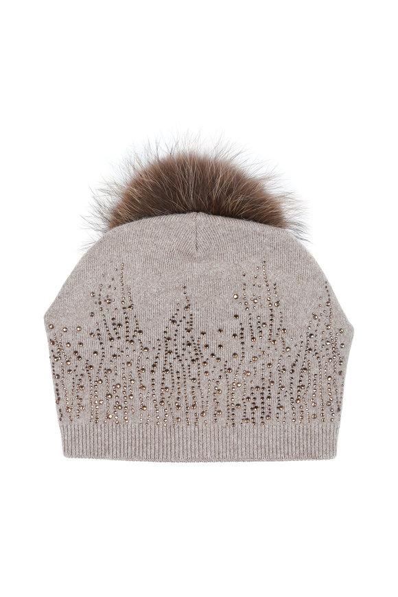 Viktoria Stass Beige Rhinestone Fur Pom Pom Hat