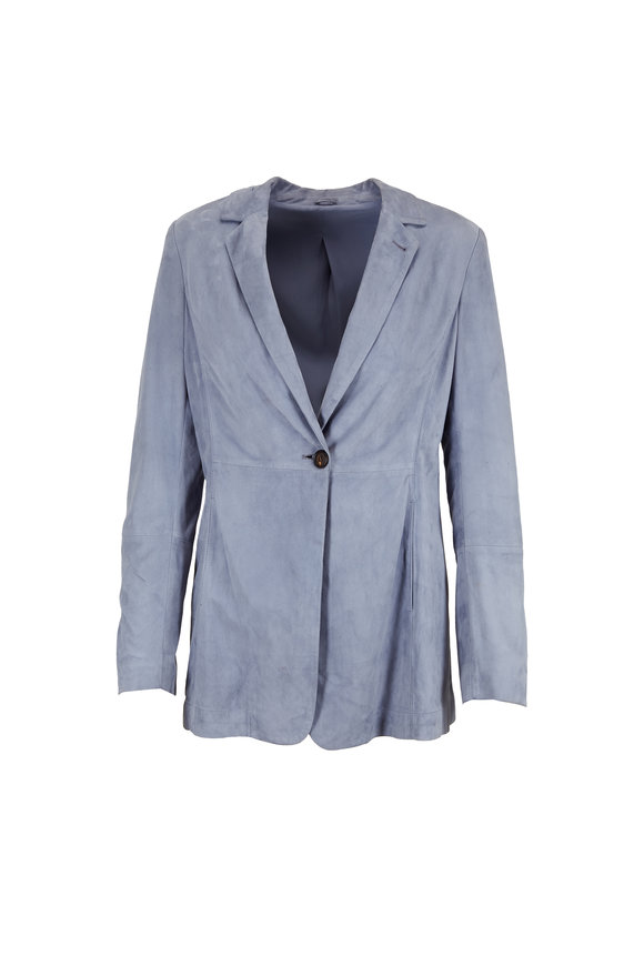Brunello Cucinelli Periwinkle Suede One Button Blazer