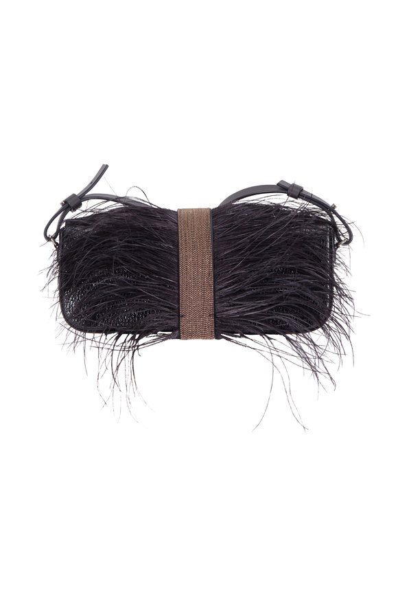 Brunello Cucinelli Black Leather With Ostrich Feathers & Monili Bag