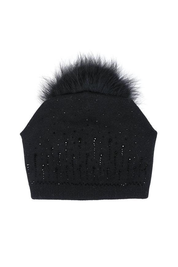 Viktoria Stass Black Rhinestone Fur Pom Pom Hat