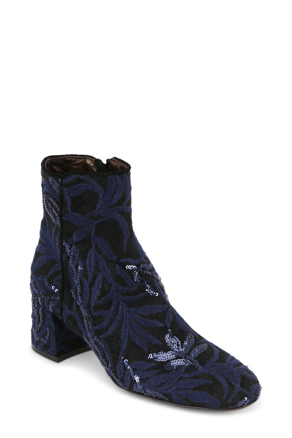 AGL Navy & Black Lace Jacquard Sequin Boot, 50mm