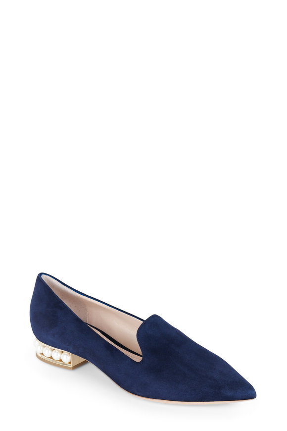 Nicholas Kirkwood Casati Navy Blue Suede Pearl Inset Pointed Loafer