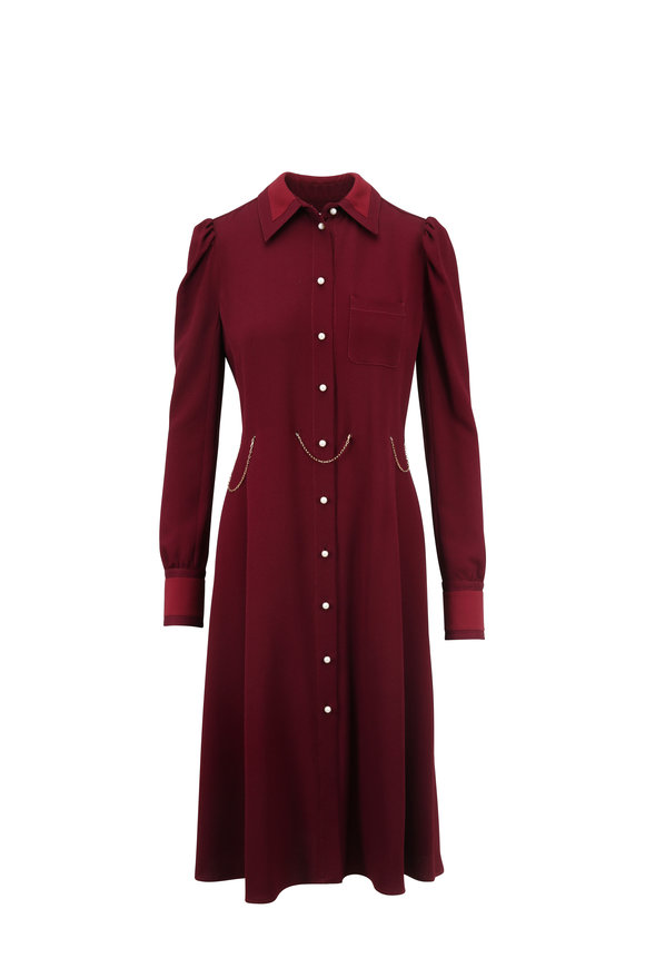 Altuzarra Filippa Garnet Pearl Placket Long Sleeve Dress