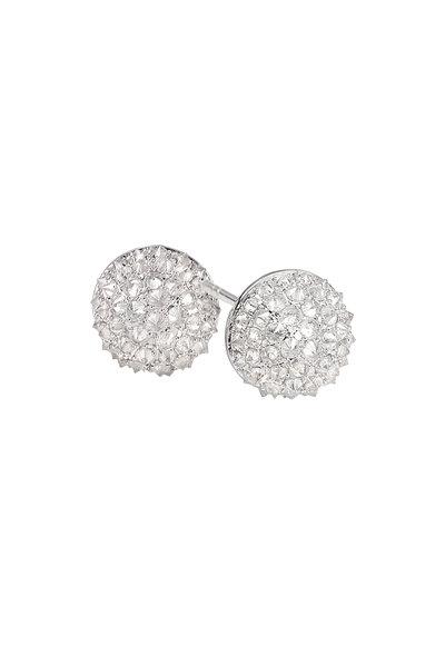 Nam Cho - 18K White Gold Diamond Half Ball Earrings