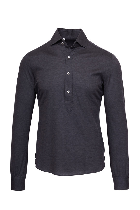 Atelier Munro Charcoal Grey Popover Knit Polo