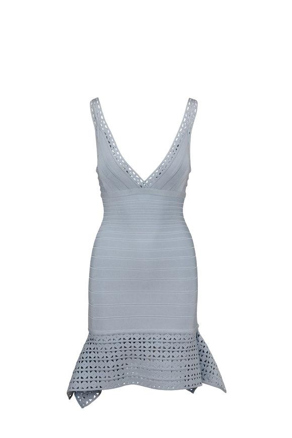Herve Leger Saige Powder Blue V-Neck Sleeveless Dress