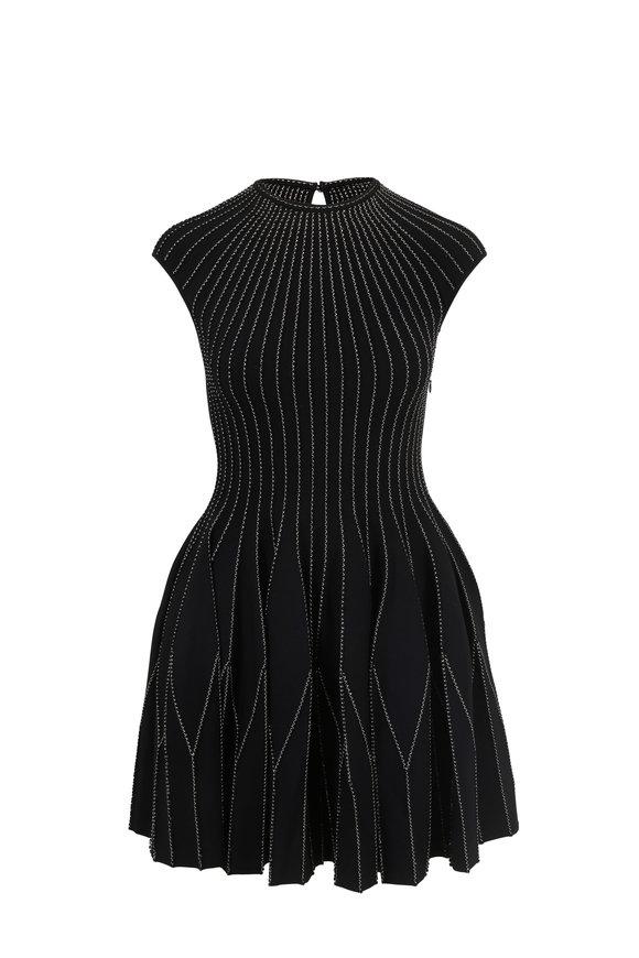 Alexander McQueen Black Plissé Knit Cap Sleeve Mini Dress