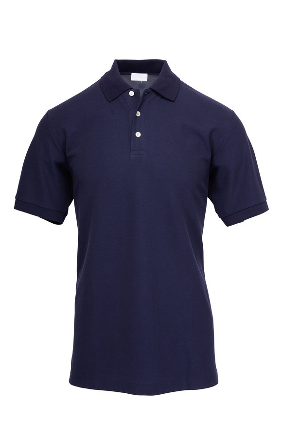 Handvaerk Navy Blue Pima Cotton Polo