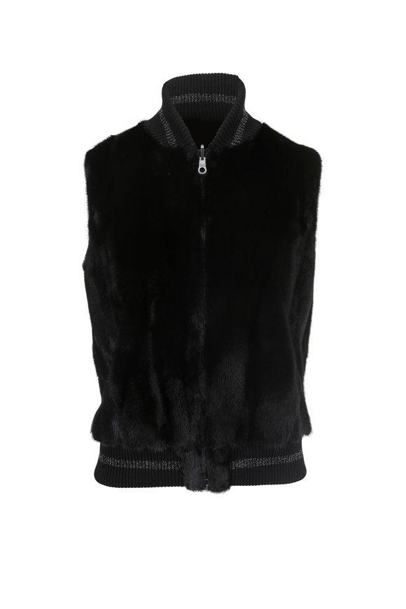 Oscar de la Renta Furs Black Mink Reversible Zip Vest